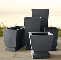 Pedestal Sheet Metal Planters Weathered Zinc
