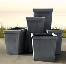 Paneled Sheet Metal Planters Weathered Zinc