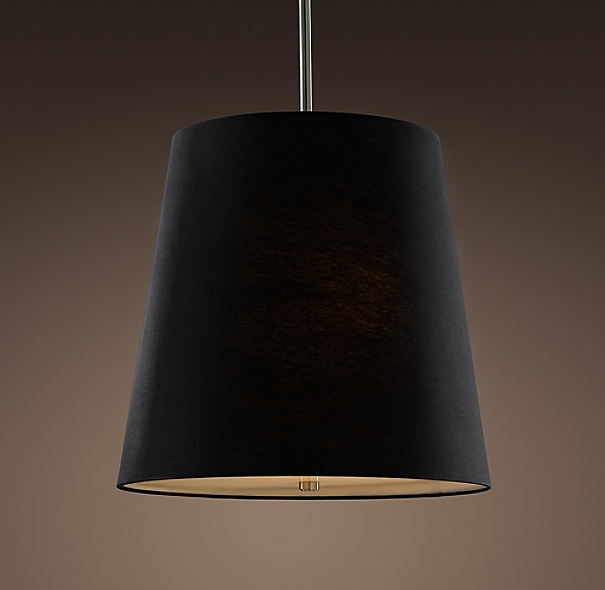 Barrel Shade Pendant Black Linen