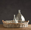 Round Handwoven Wicker and Rope Tray