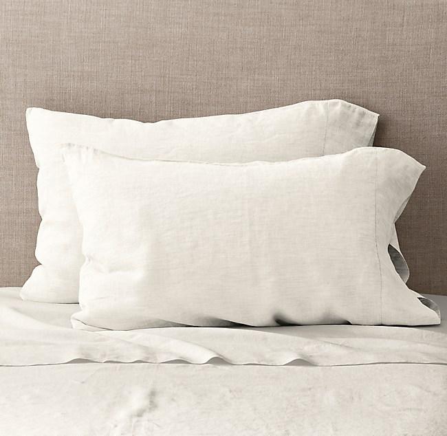 Vintage Washed Belgian Linen Pillowcases Set Of 2