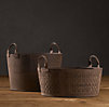 Leather Basket Weave Magazine Bucket