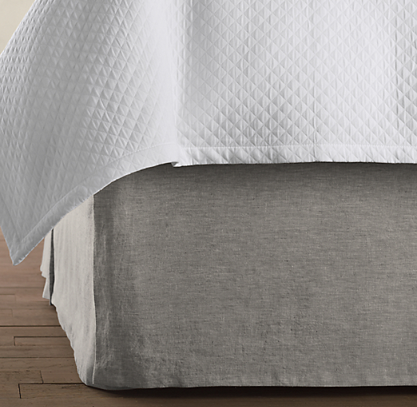 Vintage-Washed Belgian Linen Bed Skirt