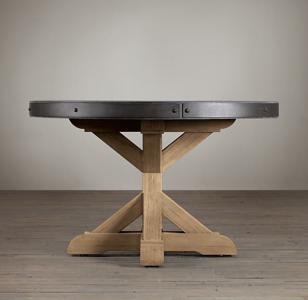 Belgian Trestle Concrete & Teak Dining Table