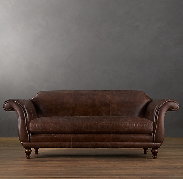 8' Regency Leather Sofa