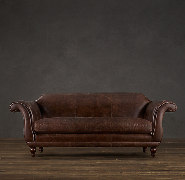 9' Regency Leather Sofa