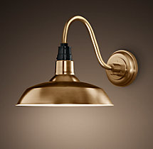 Vintage Barn Sconce Antique Brass