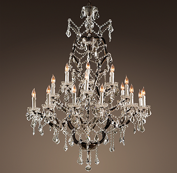 19th C. Rococo Iron & Crystal Chandelier Extra-Large