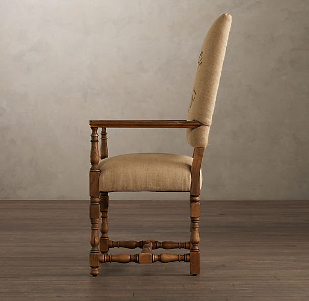 1890 English Baroque Armchair Printed Burlap