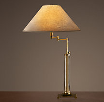 French Column Glass Swing-Arm Table Lamp Antique Brass