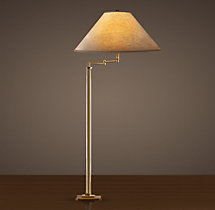 French Column Glass Swing-Arm Floor Lamp Antique Brass