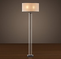 French Column Glass Floor Lamp Bronze