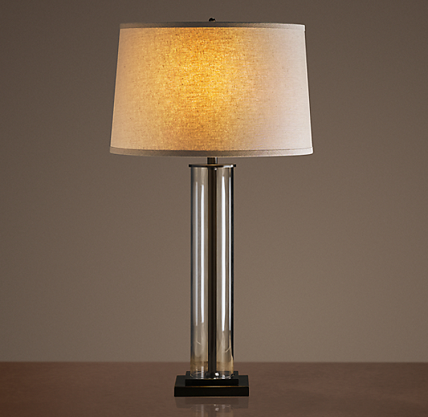 French Column Glass Table Lamp Bronze
