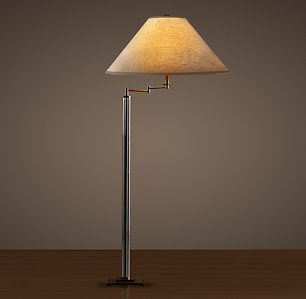 French Column Glass Swing-Arm Floor Lamp Bronze