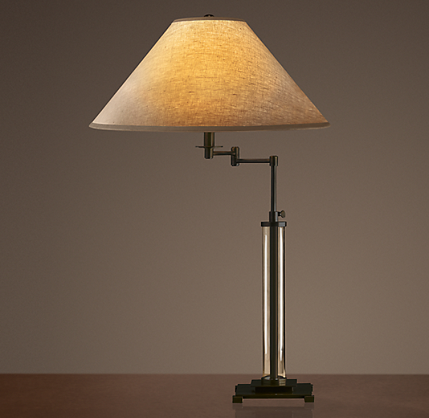 French Column Glass Swing-Arm Table Lamp Bronze