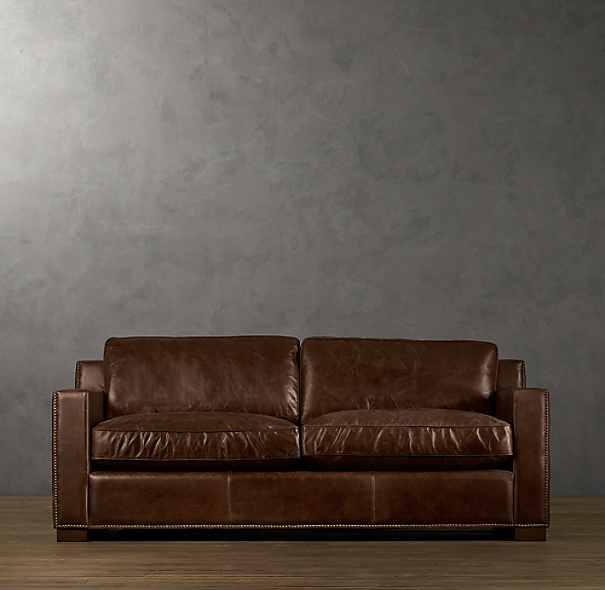 6 Collins Leather Sofa With Nailheads