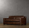 6' Collins Leather Sofa With Nailheads