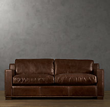 8' Collins Leather Sofa With Nailheads