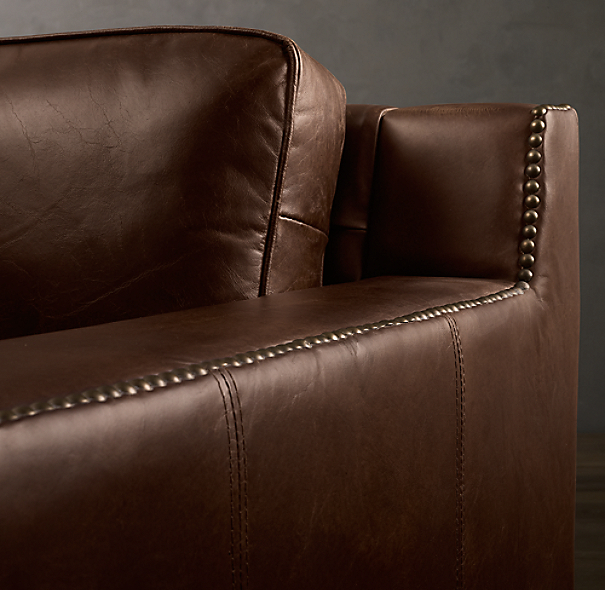 7' Collins Leather Sofa With Nailheads