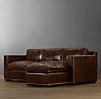 Collins Leather Right-Arm Sofa Chaise Sectional With Nailheads