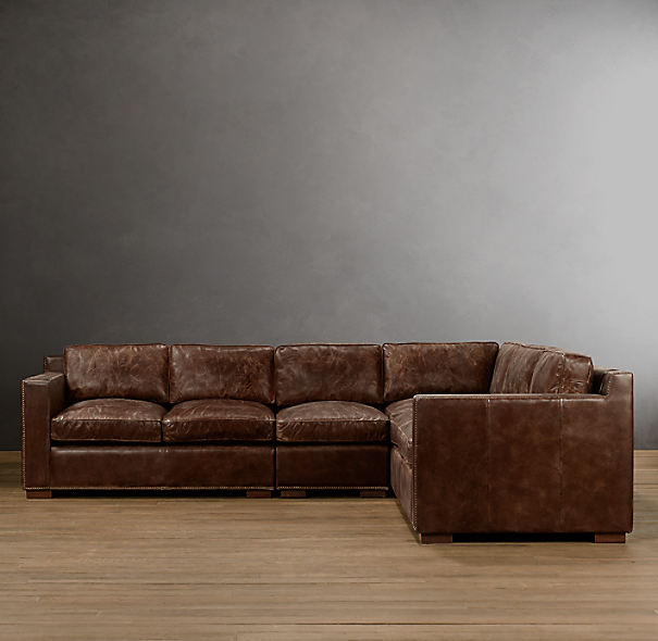 Collins Leather Right-Arm L-Sectional With Nailheads
