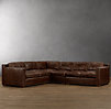 Collins Leather L-Sectional With Nailheads