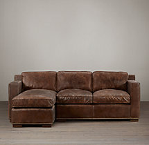 Collins Leather Left-Arm Sofa Chaise Sectional With Nailheads