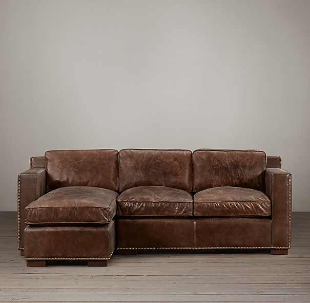 Collins Leather Left Arm Sofa Chaise Sectional With Nailheads