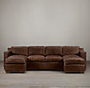 Collins Leather U-Chaise Sectional With Nailheads