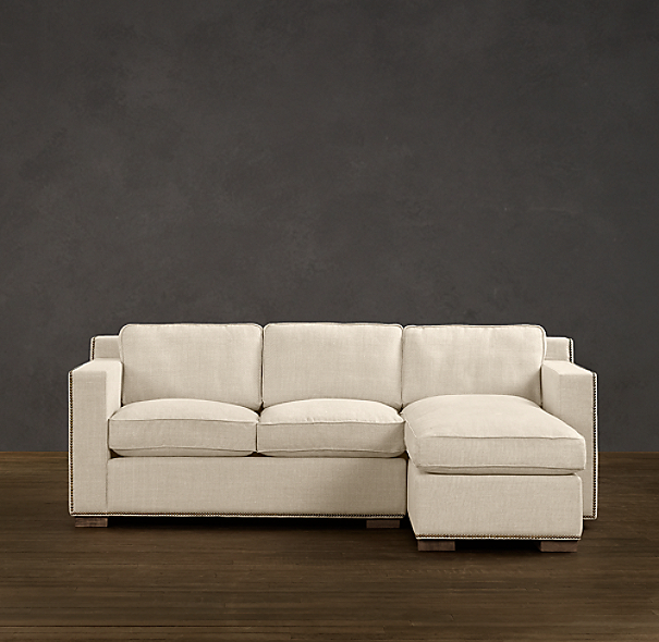 Collins Upholstered Right-Arm Sofa Chaise Sectional With Nailheads