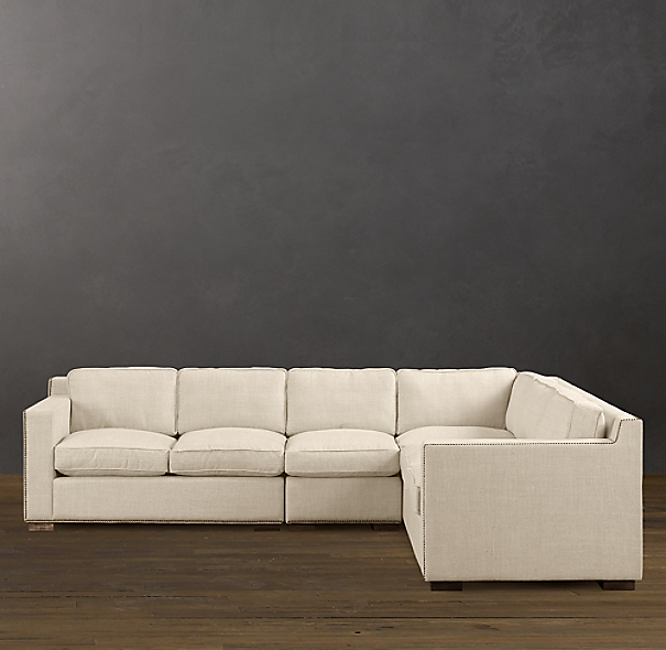 Collins Upholstered Right-Arm L-Sectional With Nailheads