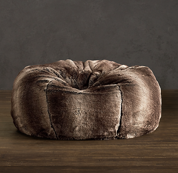 Grand Luxe Faux Fur Bean Bag Chair Mink