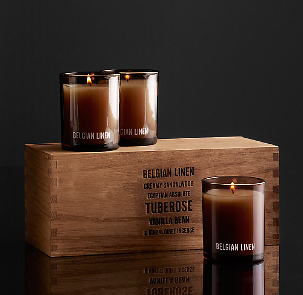 Belgian Linen Filled Candles (Set of 3)