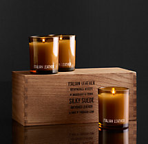 Italian Leather Filled Candles (Set of 3)