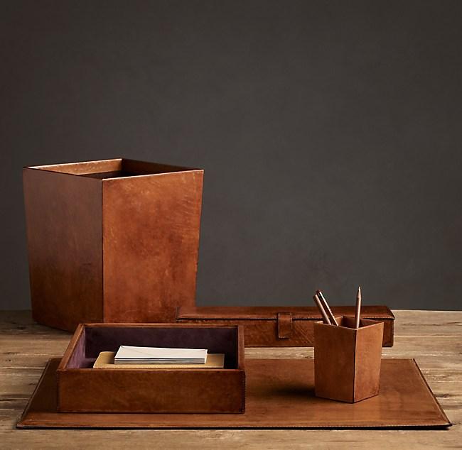 Artisan Leather Desk Accessories - Chestnut