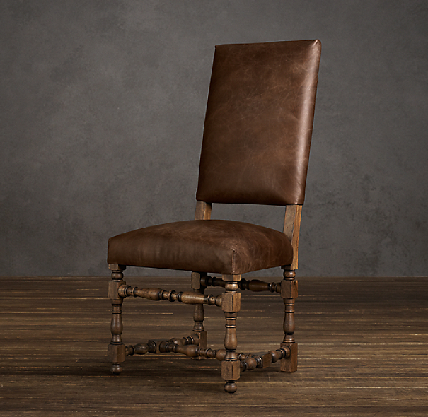 1890 English Baroque Leather Side Chair