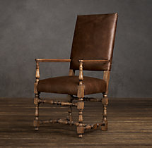 1890 English Baroque Leather Armchair