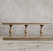 "96"" 15th C. Dual-Baluster Oak Console"