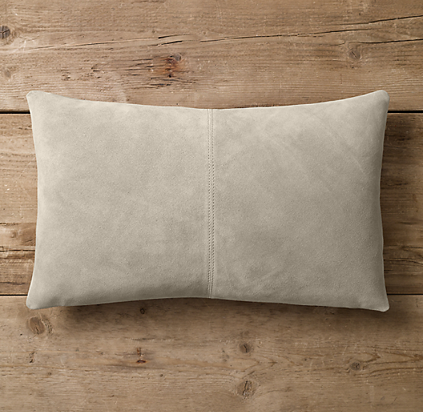 Suede Topstitched Lumbar Pillow Cover