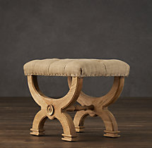 Neoclassical Rondelle Tufted Stool Burlap