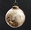 Vintage Hand-Blown Glass Ornament Etched Ball - Gold