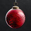 Vintage Hand-Blown Glass Ornament Etched Ball - Red