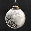 Vintage Hand-Blown Glass Ornament Etched Ball - Silver
