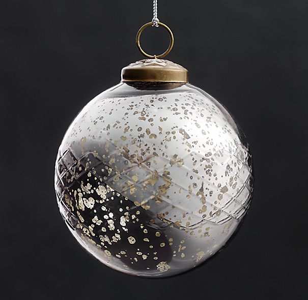 Vintage Hand-Blown Glass Ornament Etched Ball - Smoke
