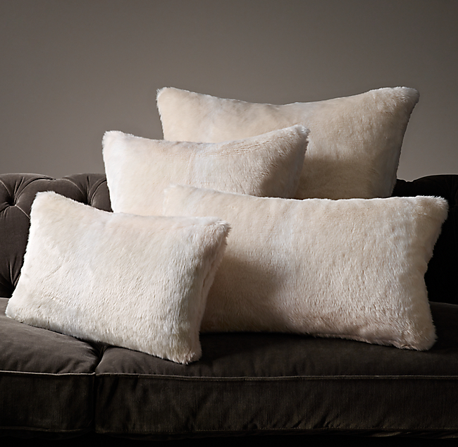 Luxe Faux Fur Fox Pillow Covers - Arctic Fox