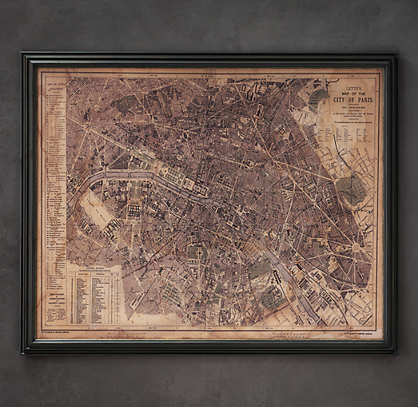 Circa 1883 Paris Map