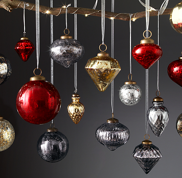 Vintage Hand-Blown Glass Ornament Collection - Silver