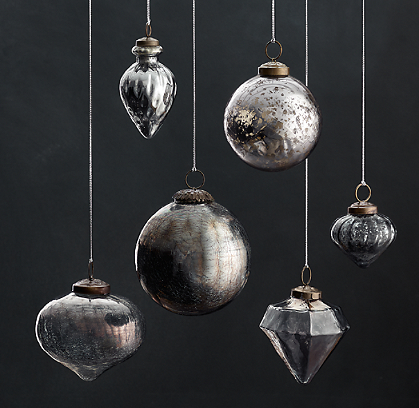 Vintage Hand-Blown Glass Ornament Collection - Smoke