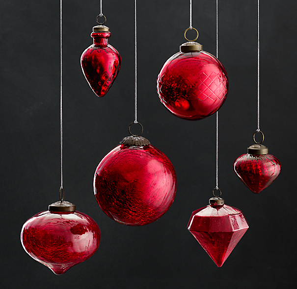 Vintage Hand-Blown Glass Ornament Collection - Red