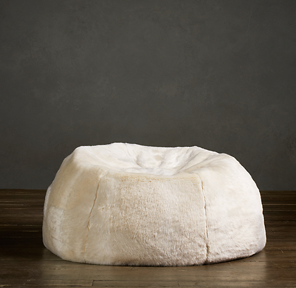 Grand Luxe Faux Fur Bean Bag Chair - Arctic Fox